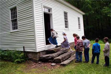 Students entering Center Schoolhouse